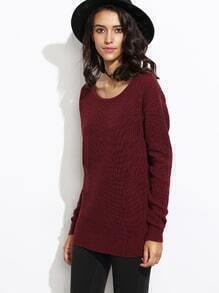 Burgundy cuello redondo suéter de manga larga