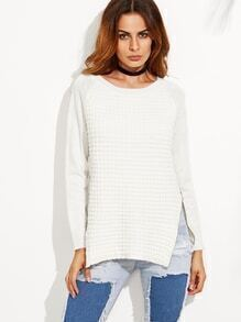 Blanco cremallera lado partido suéter de manga larga