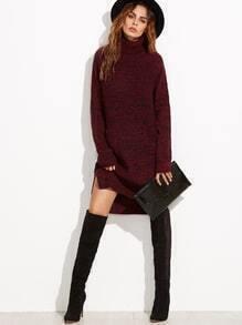 Red alto cuello de manga larga Dip Hem suéter