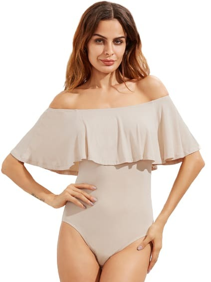 Apricot Ruffle Off The Shoulder Bodysuit