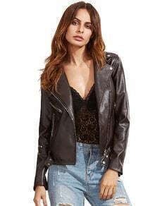 Brown de manga larga de solapa Jacket chaquetas
