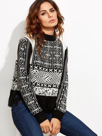 Black and White Tassel Hem Long Sleeve Sweater