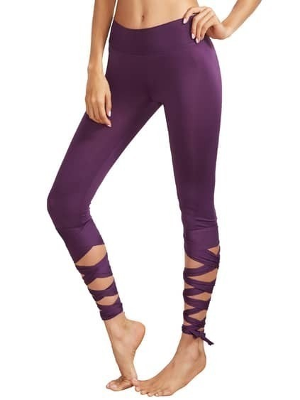 Purple Wide Waistband Tie Up Leggings