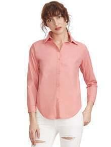 Pink Sharp Collar Long Sleeve Buttons Blouse