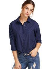 Navy Sharp Collar Botones de manga larga Blusa