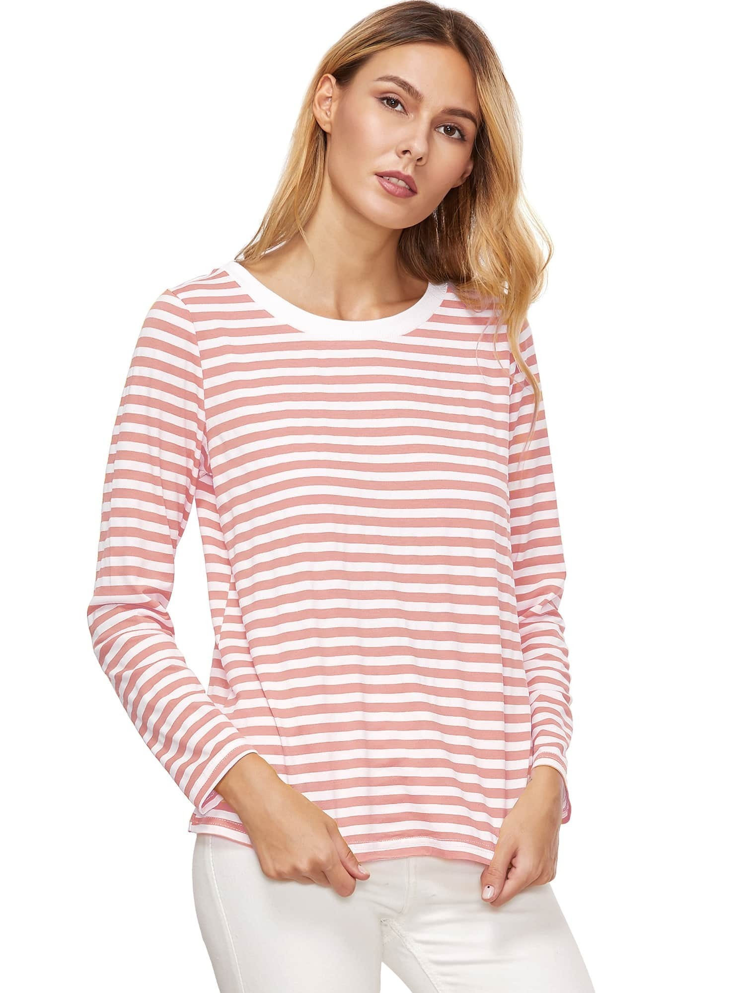 Pink Striped Long Sleeve T-Shirt