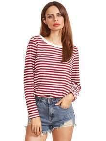 Burgunder-gestreiftes langes Hülsen-T-Shirt