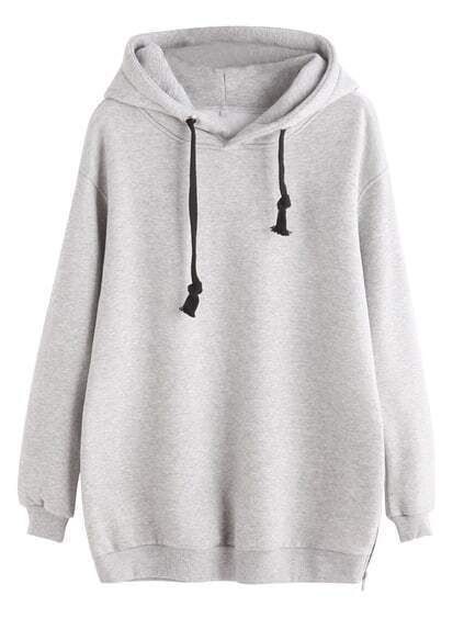 Light Grey Zipper Side Drawstring Hooded Sweatshirt