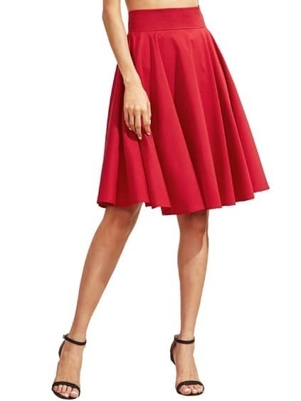 Burgundy High Waist Pleated Midi Skirt