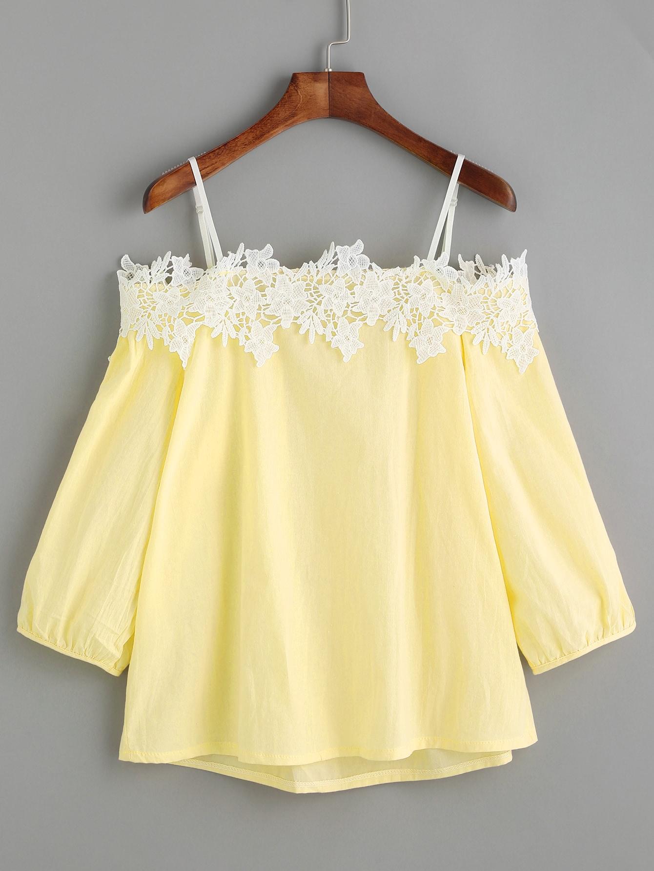 Cold Shoulder Lace Appliques Top blouse170222103