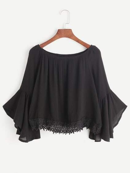 Black Boat Neck Bell Sleeve Contraste Crochet Hem Top