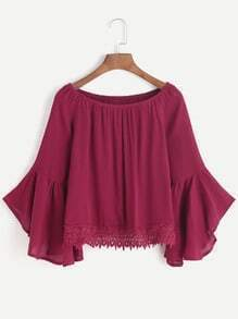 Burgundy Boat Neck Bell Sleeve Contrast Crochet Hem Top