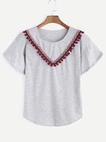 Heather Grey gesticktes Tape Detail Pom Pom T-Shirt