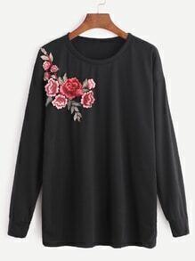Remiendo bordado flor negra sudadera con capucha