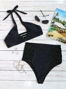Buy Black Ladder Cutout High Waist Halter Bikini Set
