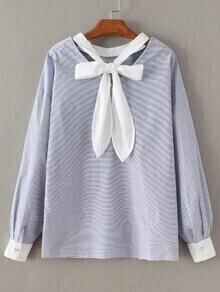 Blaue gestreifte Fliege V-Ausschnitt Bluse