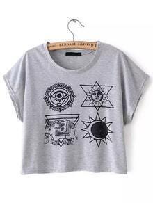 Cultivo tribal gris de la impresión t-shirt