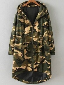 Army Green Camouflage Print Drawstring Detail High Low Coat