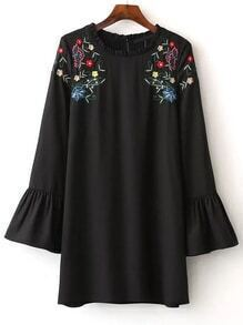 Black Flower Embroidered Bell Cuff Dress