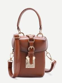 Brown PU Bucket Shoulder Bag With Handle