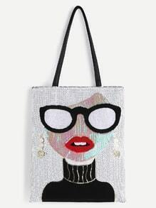 White Sequin Girl Cute Tote Bag