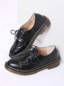 Black Lace Up PU Flat Shoes