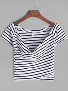 T-shirt à encolure en V à rayures contrastées