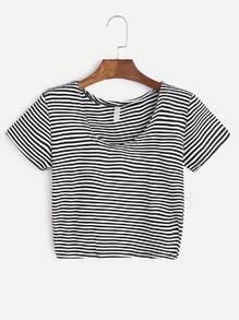 T-shirt noir à rayures blanches