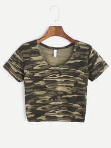 Camo Print Short Sleeve Crop T-shirt