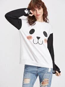 White Panda Print Drop Shoulder Contrast Sleeve Sweatshirt