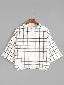 White Grid Funnel Neck Drop Shoulder T-shirt