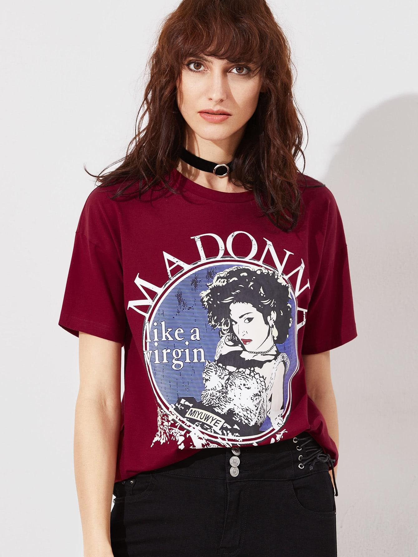 Burgundy Graphic Print Short Sleeve T-shirt