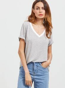 Heather Grey-Kontrast-V-Ausschnitt Kurzarm T-Shirt
