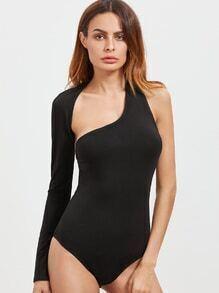 Body con hombro asimétrico y diseño cruzado - negro
