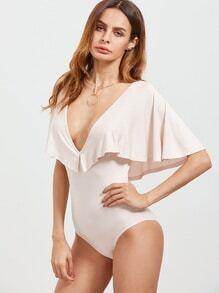 Body con escote V y diseño de capa - rosa