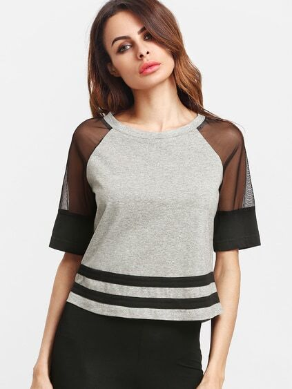 Heather Grey Contrast Mesh Raglan Sleeve Striped Hem T-shirt