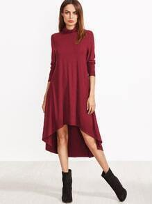 Burgunder-V-Ausschnitt High-Low-Swing-Kleid