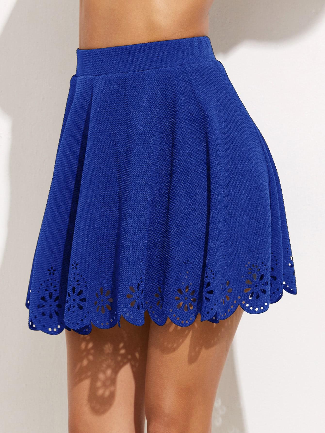 Royal Blue Laser Cutout Scallop Hem Textured Skirt