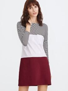 Color Block Drop Shoulder Pocket Front Tee Dress