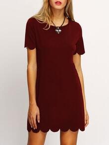 Burgundy Buttoned Keyhole Back Scallop Dress