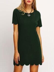 Scallop Kleid mit Knopf Keyhole Hinten -dunkel grün