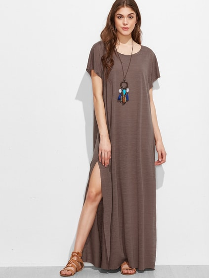 Brown Short Sleeve Split Side Maxi Dress