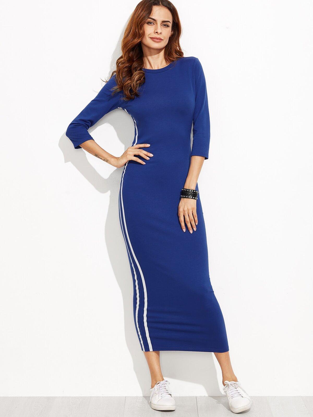 藍色 3/4 袖子 條紋 側邊 接縫 鉛筆 洋裝