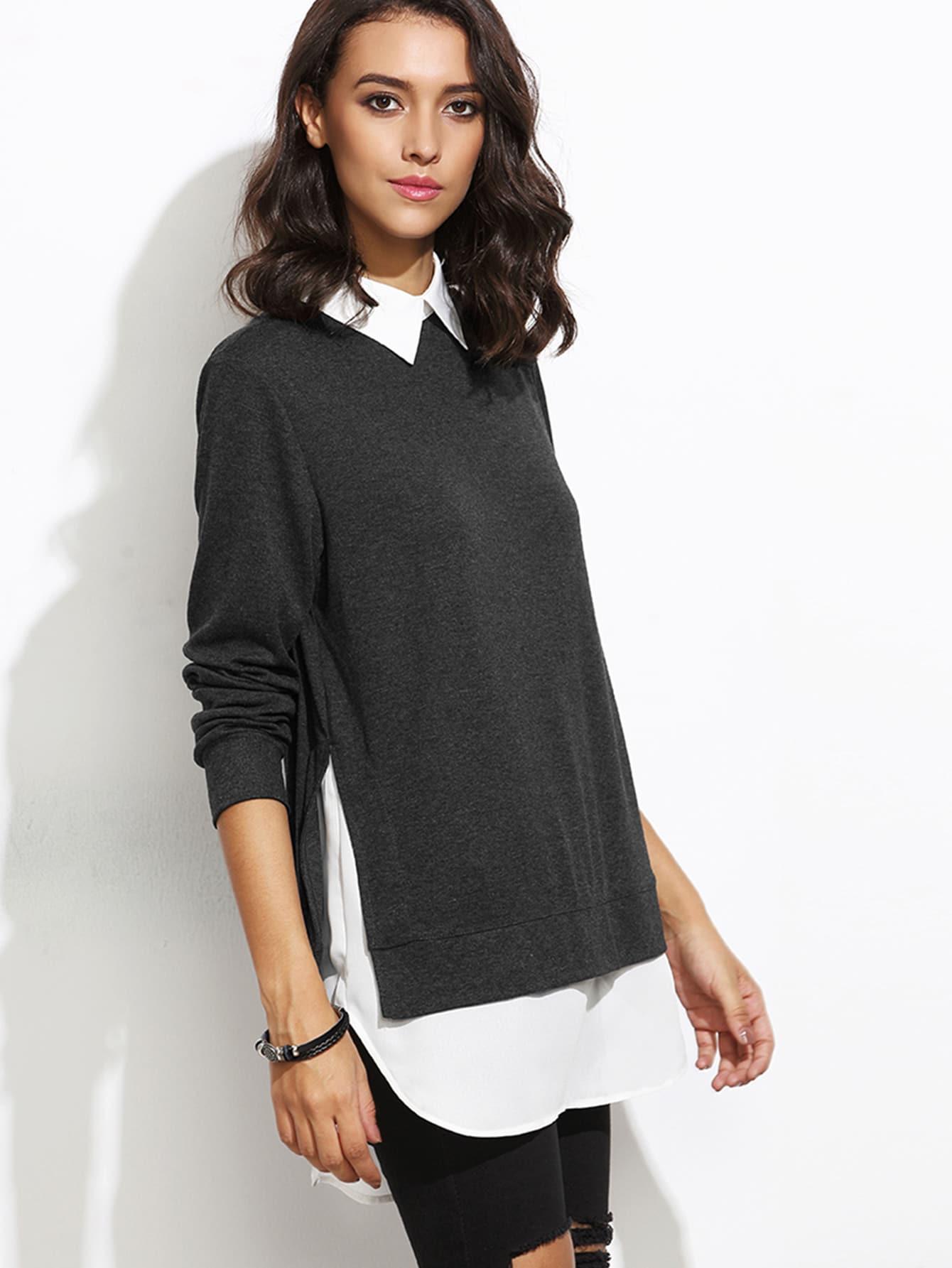 2 in 1 Sweatshirt mit kontrastfarbigem Kragen - schwarz