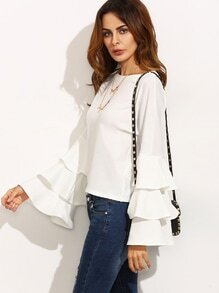 White Round Neck Ruffle Long Sleeve Blouse