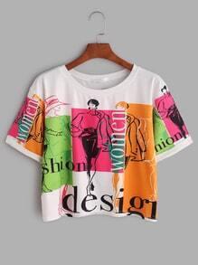 Graffiti-Druck-Kurzschluss-Hülsen-T-Shirt