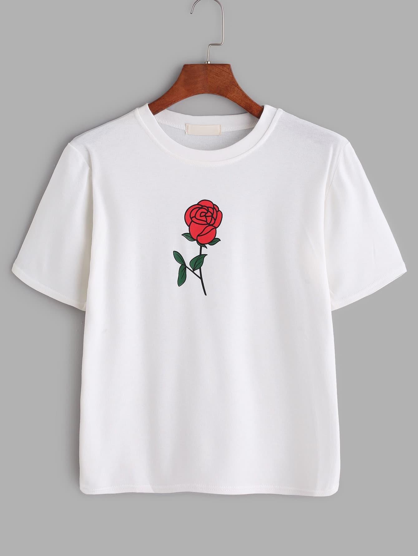 wei es rosen druck t shirt german romwe. Black Bedroom Furniture Sets. Home Design Ideas
