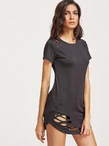 Noir Déchiré Détail T-shirt à ourlet courbé