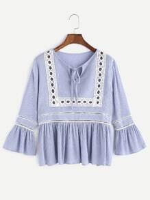Tie Neck Bell Sleeve Eyelet Hollow Out Crinkle Blouse