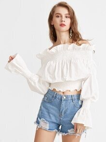 Ruffle Off The Shoulder Bell Sleeve Shirred Top